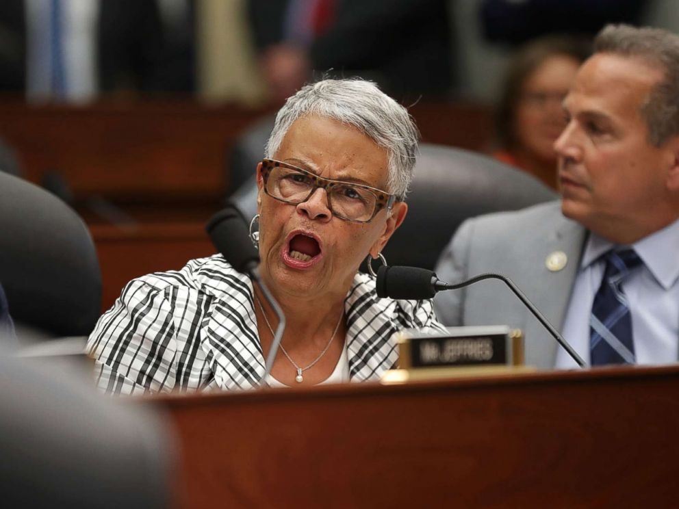 PHOTO: Rep. Bonnie Watson Coleman shouts during a joint hearing in the Rayburn House Office Building on Capitol Hill, July 12, 2018, in Washington.