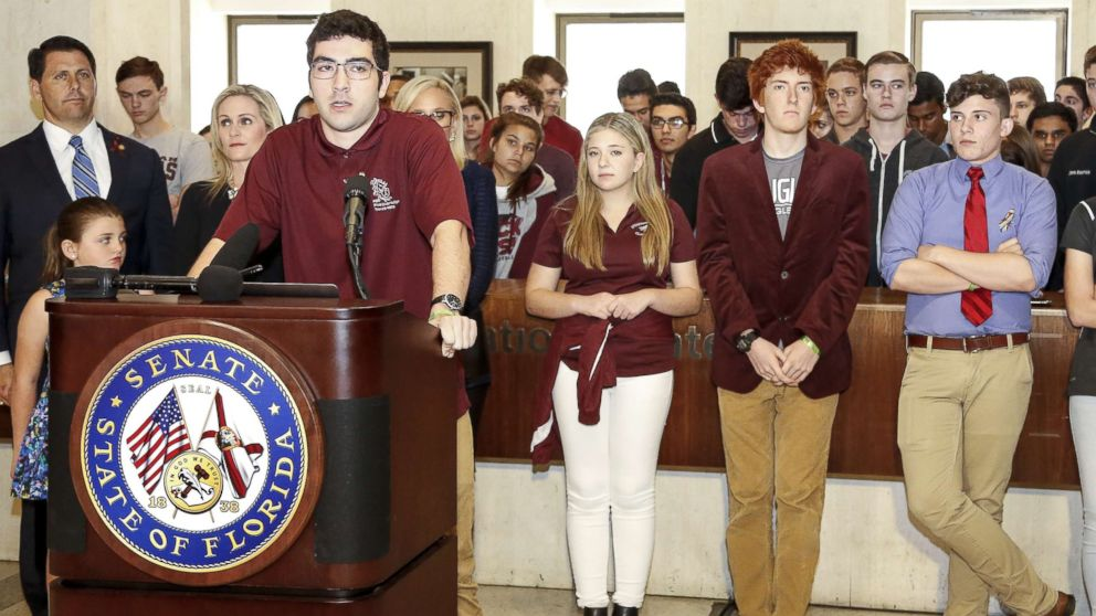 Lorenzo Prado, a student from Marjory Stoneman Douglas High School, speaks at the Florida State Capitol building, Feb. 21, 2018, in Tallahassee, Fla.