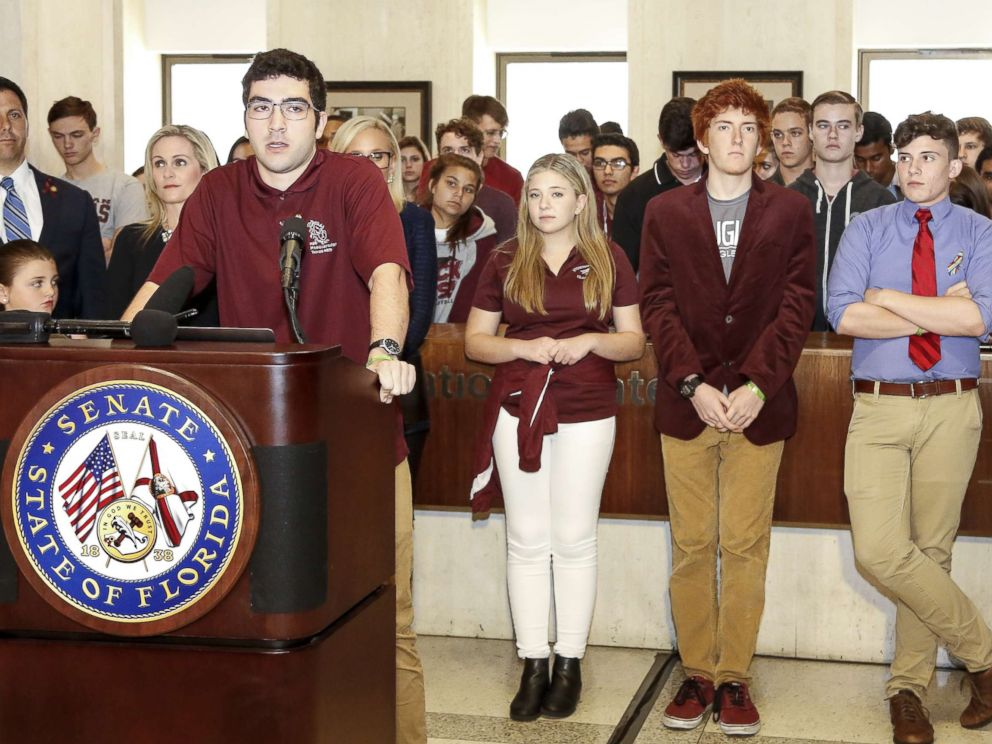 PHOTO: Lorenzo Prado, a student from Marjory Stoneman Douglas High School, speaks at the Florida State Capitol building, Feb. 21, 2018, in Tallahassee, Fla.
