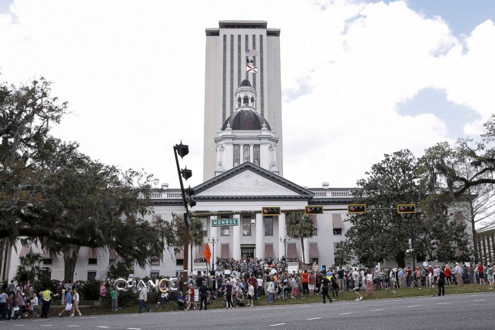 PHOTO: Activists and students from Marjory Stoneman Douglas High School attend a rally at the Florida State Capitol building to address gun control, Feb. 21, 2018, in Tallahassee, Fla.