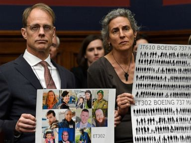 PHOTO: Michael Stumo and Nadia Milleron, right, parents of Samya Stumo, who died in the Ethiopian plane crash, listen during a House Transportation Committee hearing on Capitol Hill in Washington, D.C., May 15, 2019.