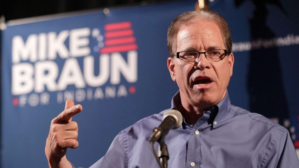 Republican Senate candidate Mike Braun thanks supporters after winning the republican primary in Whitestown, Ind., May 8, 2018.