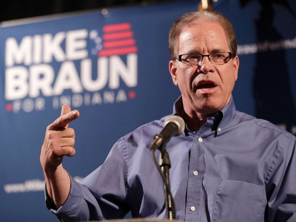PHOTO: Republican Senate candidate Mike Braun thanks supporters after winning the republican primary in Whitestown, Ind., May 8, 2018.