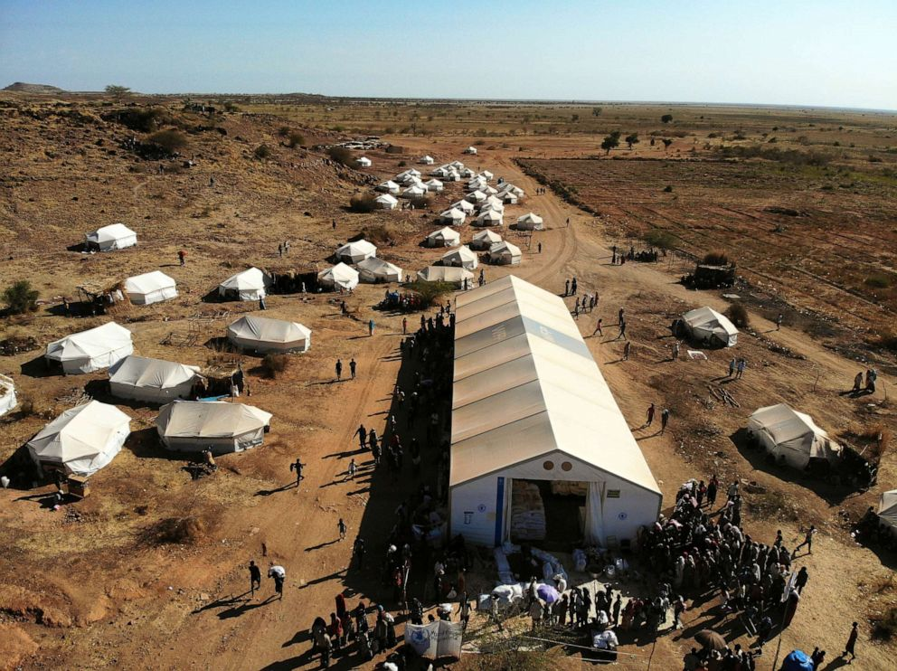 PHOTO: A picture taken by a drone shows an aerial view of the Um Rakuba refugee camp which houses Ethiopians fleeing the fighting in the Tigray region, on the the border in Sudan, Dec. 3, 2020.