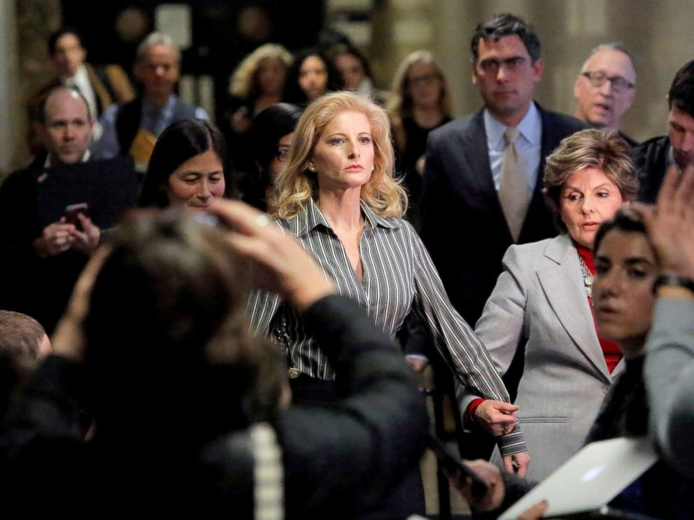 PHOTO: In this file photo, Summer Zervos, a former contestant on The Apprentice, leaves New York State Supreme Court with attorney Gloria Allred (R) after a hearing on the defamation case against President Donald Trump in New York City, Dec. 5, 2017.