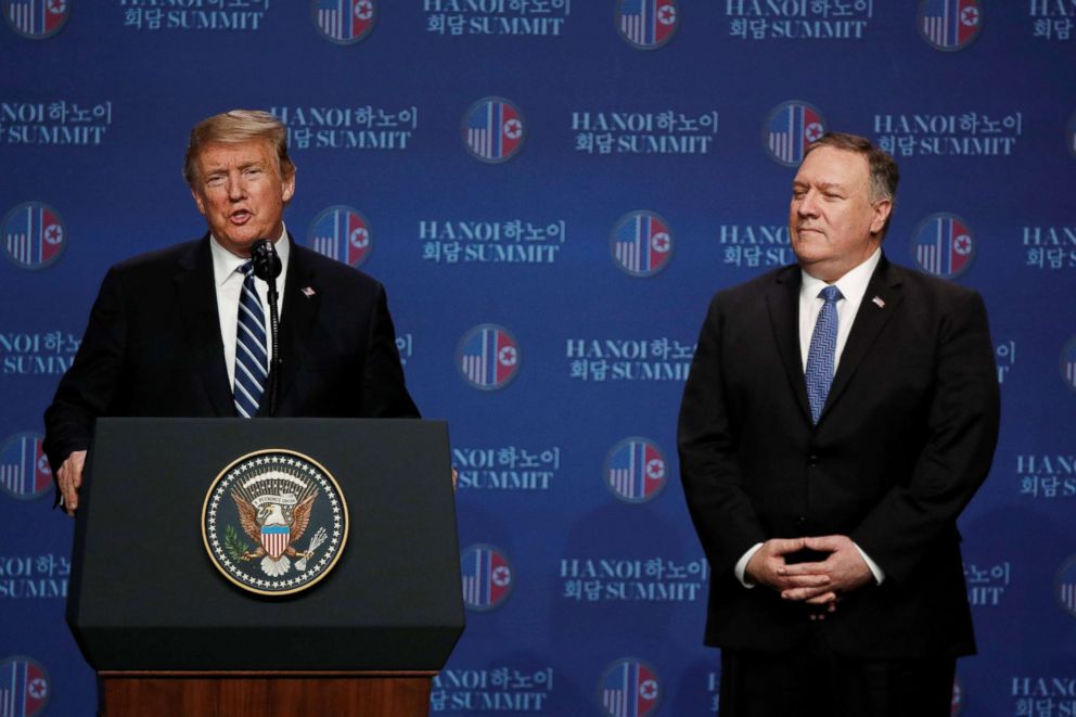 President Donald Trump speaks next to Secretary of State Mike Pompeo during a news conference after Trump's summit with North Korean leader Kim Jong Un, at the JW Marriott Hotel in Hanoi, Vietnam, Feb. 28, 2019.