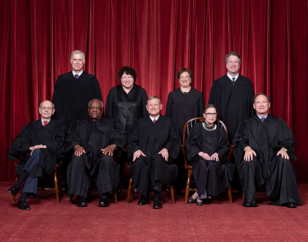 PHOTO: Justices Stephen G. Breyer and Clarence Thomas, Chief Justice John G. Roberts, Jr., and Justices Ruth Bader Ginsburg and Samuel A. Alito. Top Row: Justices Neil M. Gorsuch, Sonia Sotomayor, Elena Kagan, and Brett M. Kavanaugh.