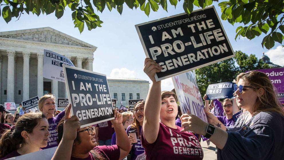 Pro-life and anti-abortion advocates demonstrate in front of the Supreme Court, June 25, 2018.