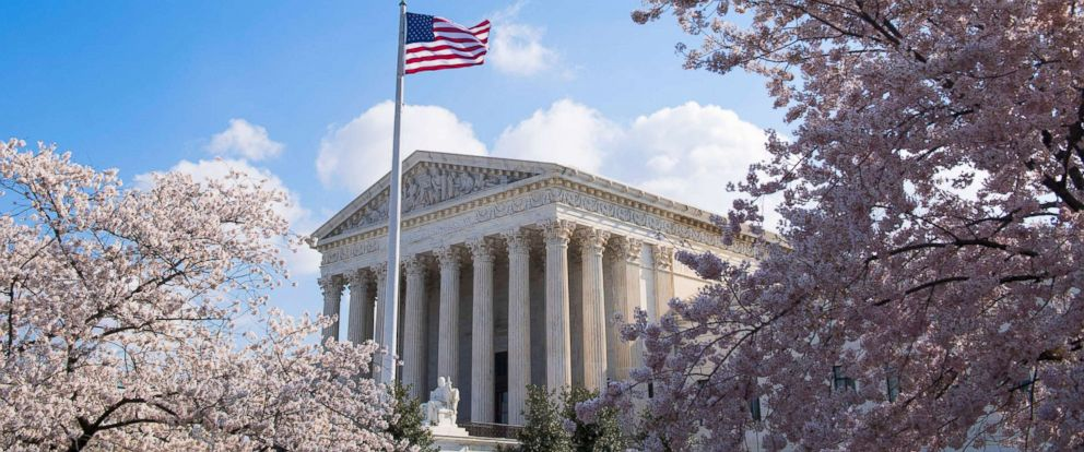 PHOTO: Cherry blossoms frame the U.S. Supreme Court building in Washington, April 10, 2018.