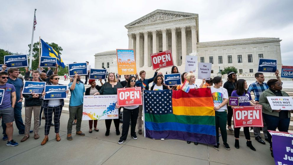 Supporters of the American Civil Liberties Union and other progressive groups gather to protest the Supreme Court decision to side with a Colorado baker who refused to bake a cake for a same sex couple in Colorado in Washington, DC, June 4, 2018.