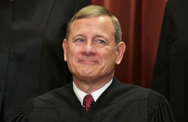 PHOTO: Chief Justice John Roberts poses for the official group photo at the US Supreme Court in Washington, Nov. 30, 2018.
