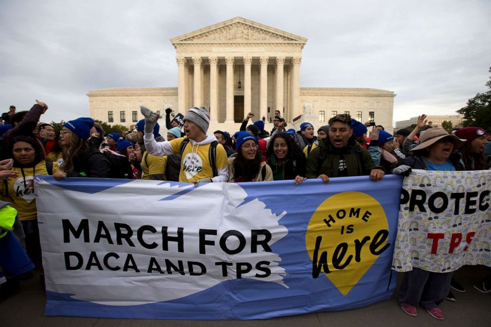 PHOTO:Demonstrators arrive in front of the US Supreme Court during the Home Is Here March for Deferred Action for Childhood Arrivals (DACA), and Temporary Protected Status (TPS) in Washington D.C., Nov. 10, 2019.