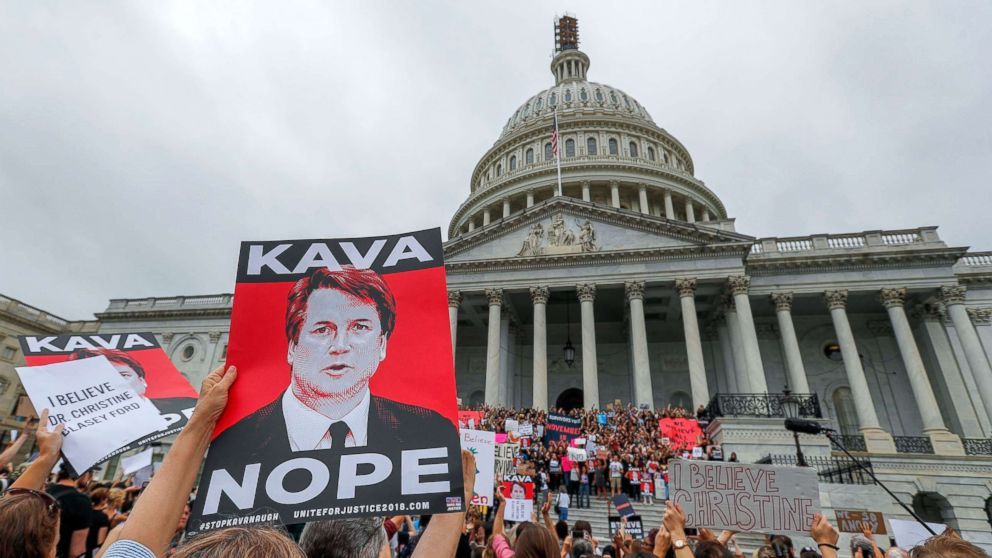 Demonstrators occupy the East steps of the Capitol ahead of the Senate vote on the confirmation of Supreme Court nominee Judge Brett Kavanaugh, Oct. 6, 2018.