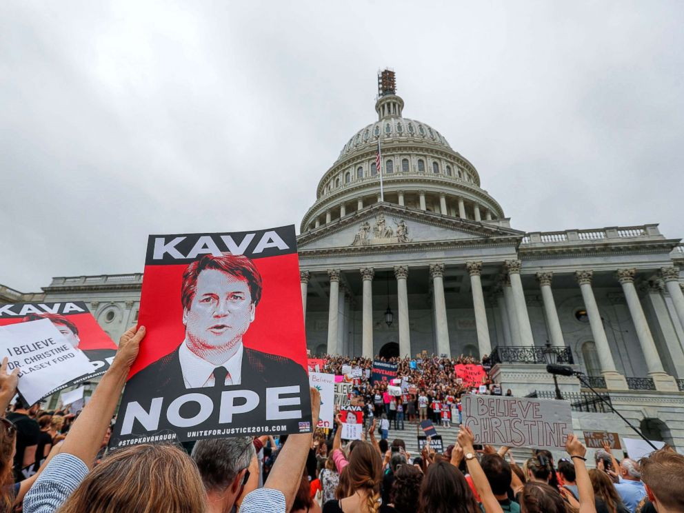 PHOTO: Demonstrators occupy the East steps of the Capitol ahead of the Senate vote on the confirmation of Supreme Court nominee Judge Brett Kavanaugh, Oct. 6, 2018.