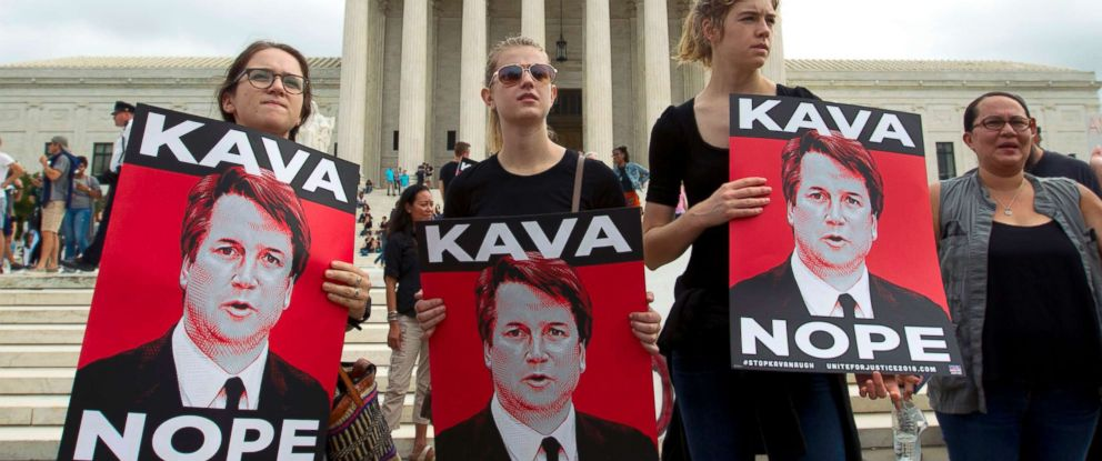 PHOTO: Demonstrators protest against Supreme Court nominee Brett Kavanaugh at the U.S. Supreme Court in Washington, Oct. 6, 2018.