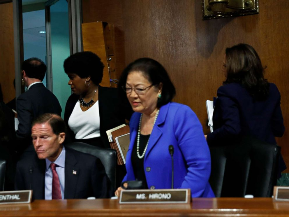 PHOTO: Democratic Senators stand to walk out of a Senate Judiciary Committee meeting ahead of a vote of Supreme Court nominee Judge Brett Kavanaugh, Sept. 28, 2018 on Capitol Hill in Washington.