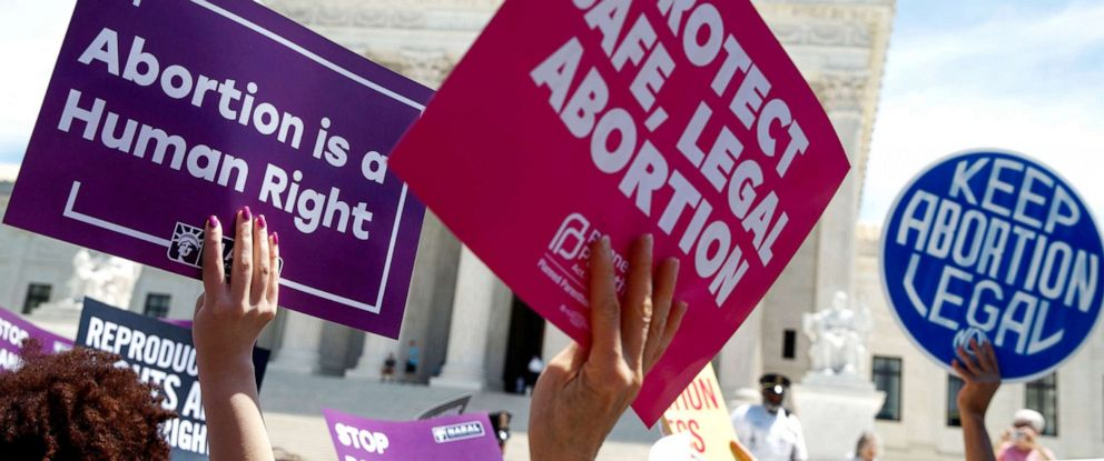 PHOTO: Pro-abortion rights activists protest at the Supreme Court in Washington, D.C., May 21, 2019.
