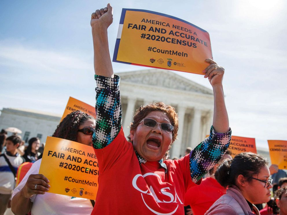 PHOTO: People protest against a citizenship question on the 2020 census in front of the Supreme Court in Washington, D.C., April 23, 2019.