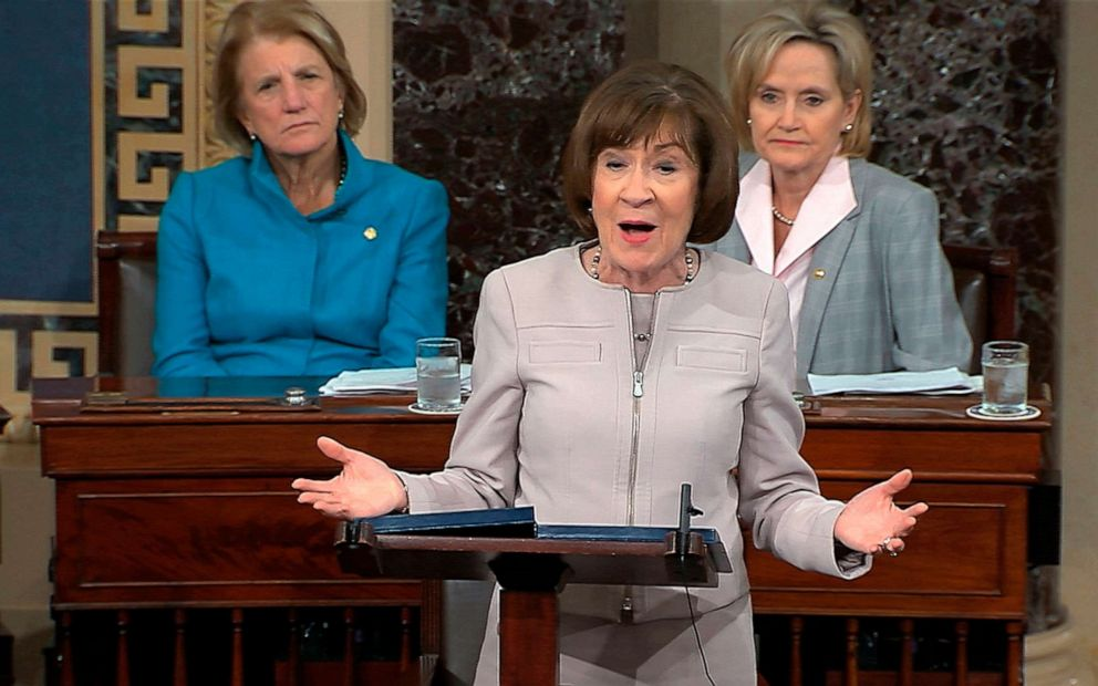 PHOTO: In this file image from video provided by Senate TV, Sen. Susan Collins speaks on the Senate floor about her vote on Supreme Court nominee Judge Brett Kavanaugh on Oct. 5, 2018, in the Capitol in Washington.