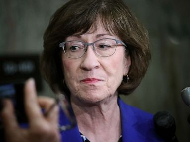 PHOTO: Sen. Susan Collins talks to reporters on Capitol Hill, Sept. 17, 2018, in Washington.