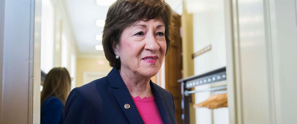 PHOTO: Sen. Susan Collins talks with a reporter before the Senate Policy luncheons in the Capitol on June 18, 2019.
