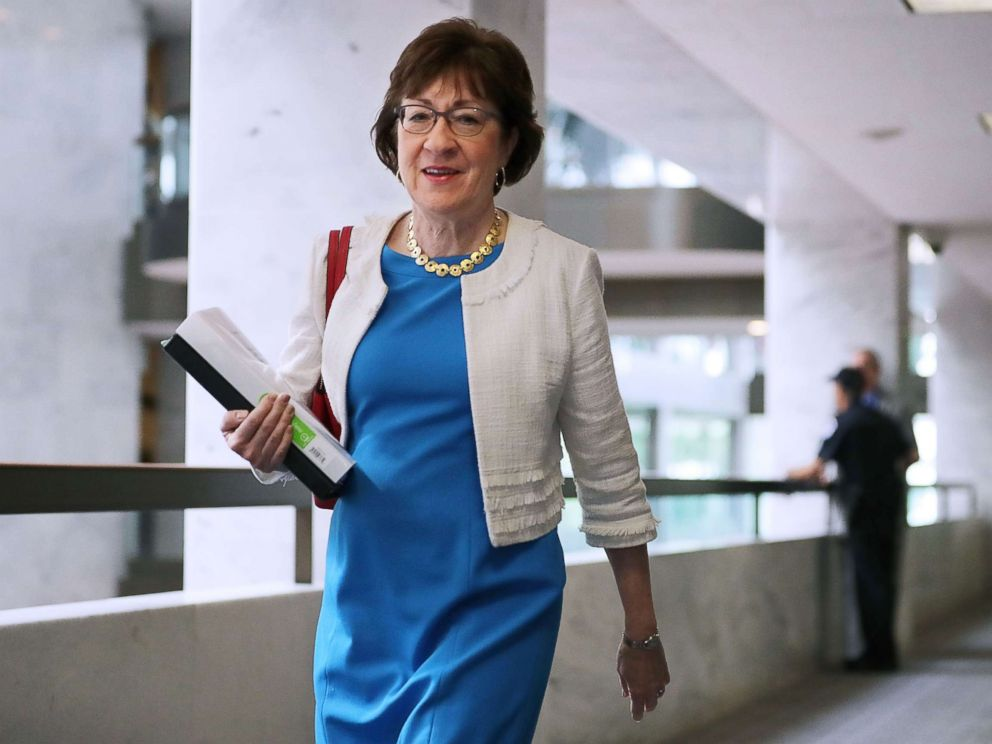 PHOTO: Susan Collins heads to a closed-door meeting of the Senate Intelligence Committee in the Hart Senate Office Building on Capitol Hill, July 27, 2017, in Washington.