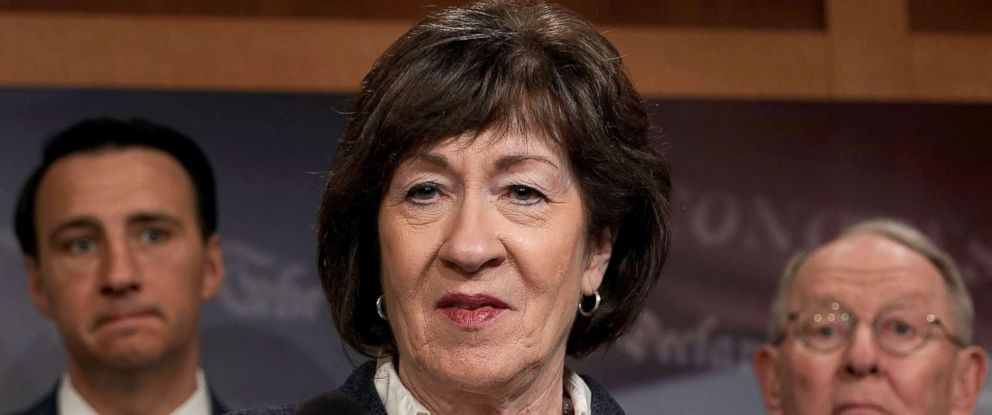 PHOTO: Sen. Susan Collins speaks during a news conference at the Capitol March 21, 2018 in Washington, DC.