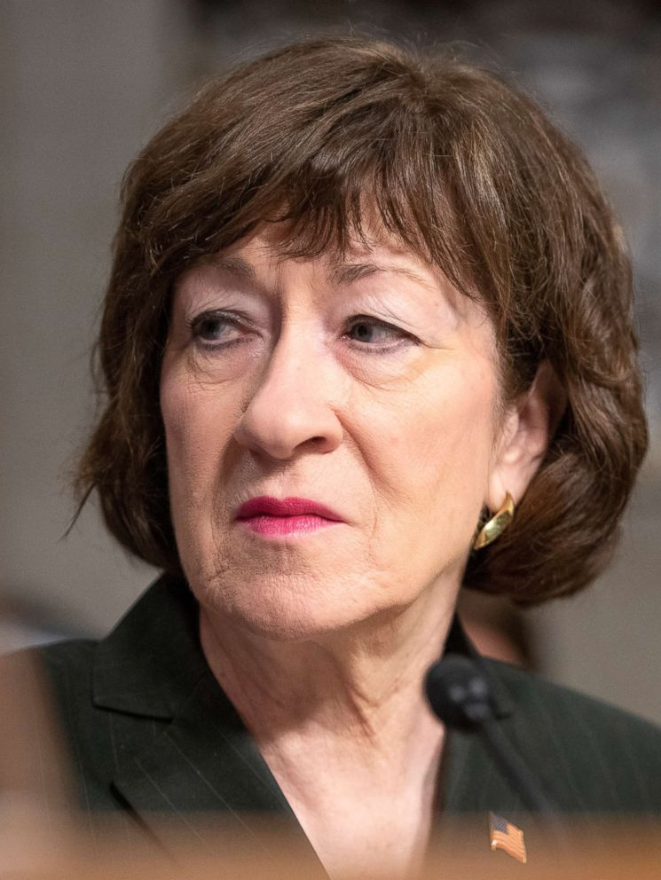 PHOTO: Sen. Susan Collins is pictured at the Senate Select Committee on Intelligence hearing on Capitol Hill in Washington, D.C., Sept. 5, 2018.