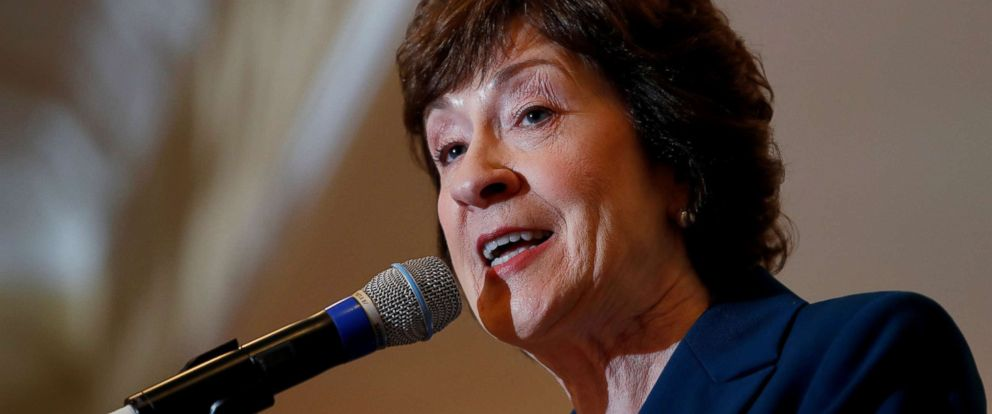 PHOTO: Senator Susan Collins speaks at the Penobscot Bay Regional Chamber of Commerces Quarterly Business Breakfast in Rockport, Maine, on Oct. 13, 2017.