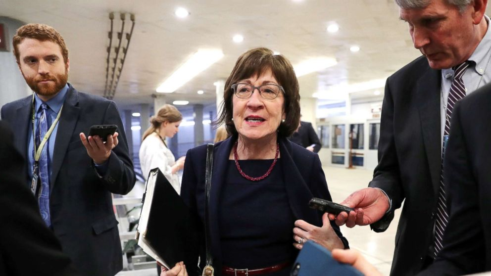 Senator Susan Collins speaks to reporters as she arrives for the weekly Republican Party caucus luncheon at the U.S. Capitol in Washington, Feb. 26, 2019.