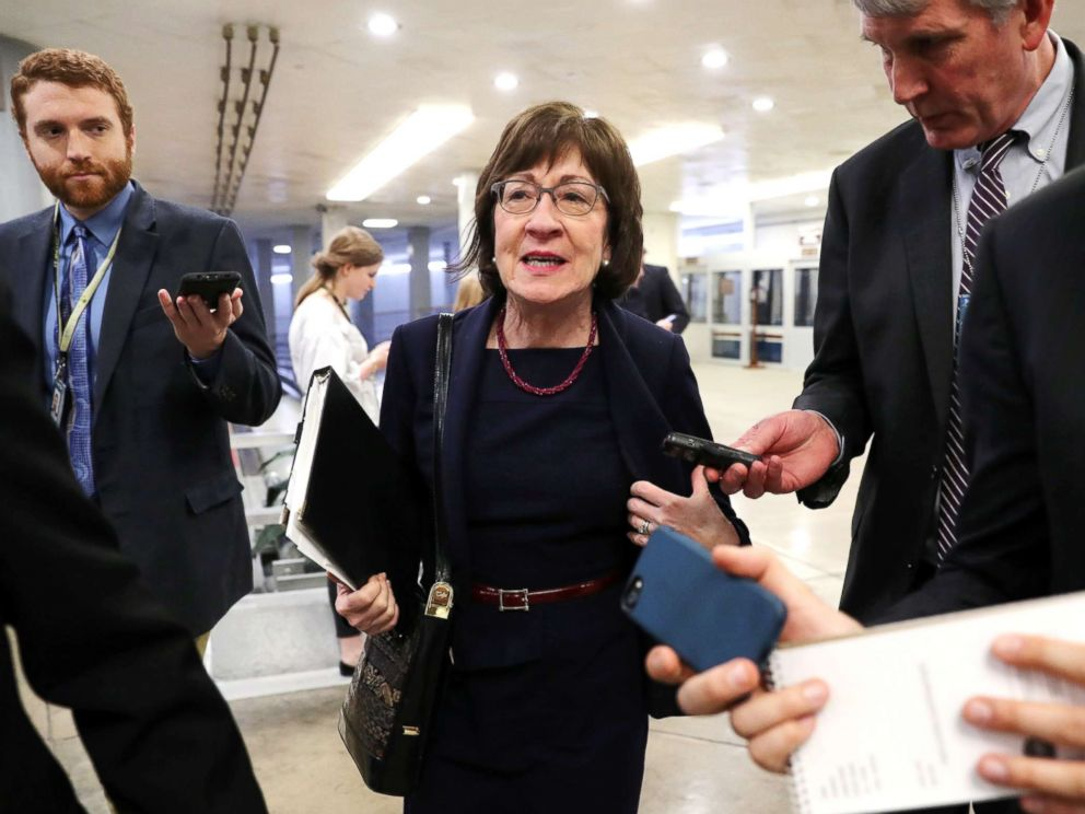 PHOTO: Senator Susan Collins speaks to reporters as she arrives for the weekly Republican Party caucus luncheon at the U.S. Capitol in Washington, Feb. 26, 2019.