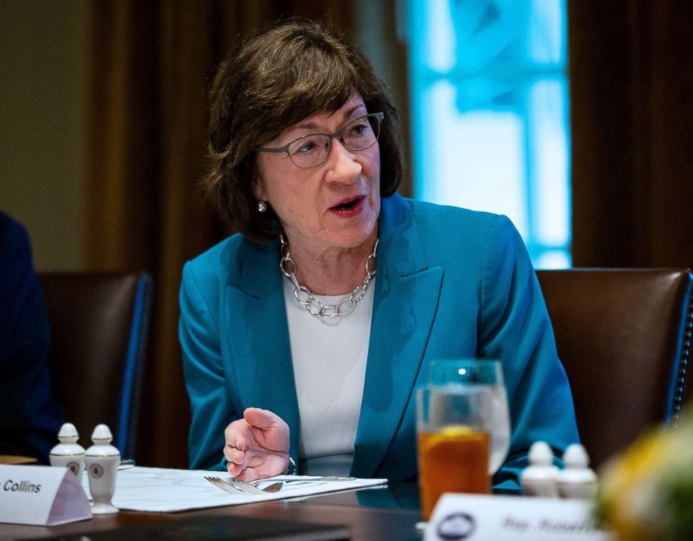 Senator Susan Collins attends a meeting with Republican lawmakers in the Cabinet Room at the White House in Washington, D.C., June 26, 2018.