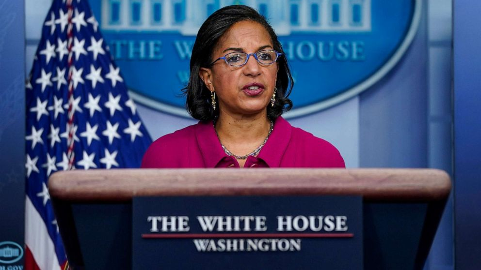 PHOTO: In this Jan. 26, 2021, file photo, Domestic Policy Advisor Susan Rice speaks during the daily press briefing at the White House in Washington, D.C.