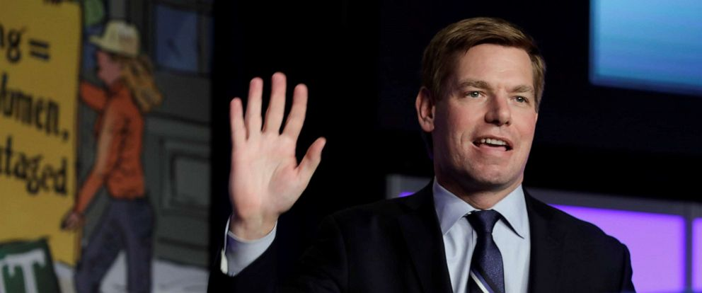 PHOTO: Democratic presidential candidate Representative Eric Swalwell (D-CA) arrives to speak at the North Americas Building Trades Unions (NABTU) 2019 legislative conference in Washington D.C., April 10, 2019.