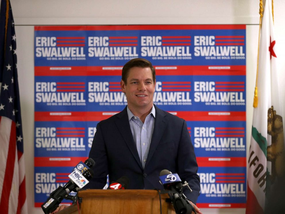 PHOTO: Democratic presidential candidate Rep. Eric Swalwell (D-CA) speaks during a press conference at his campaign headquarters where he announced that he is dropping out of the presidential race, July 8, 2019, in Dublin, Calif.