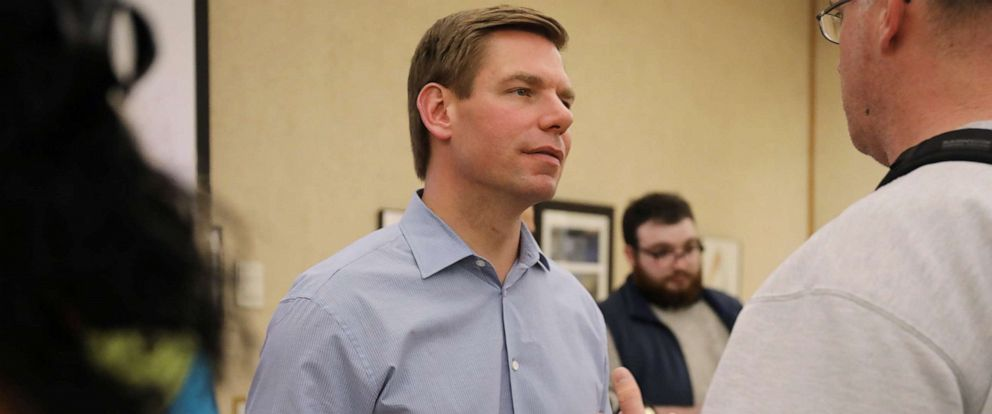 PHOTO: Democratic presidential candidate Representative Eric Swalwell (D-CA) speaks at Iowa State University in Ames, Iowa, April 11, 2019.