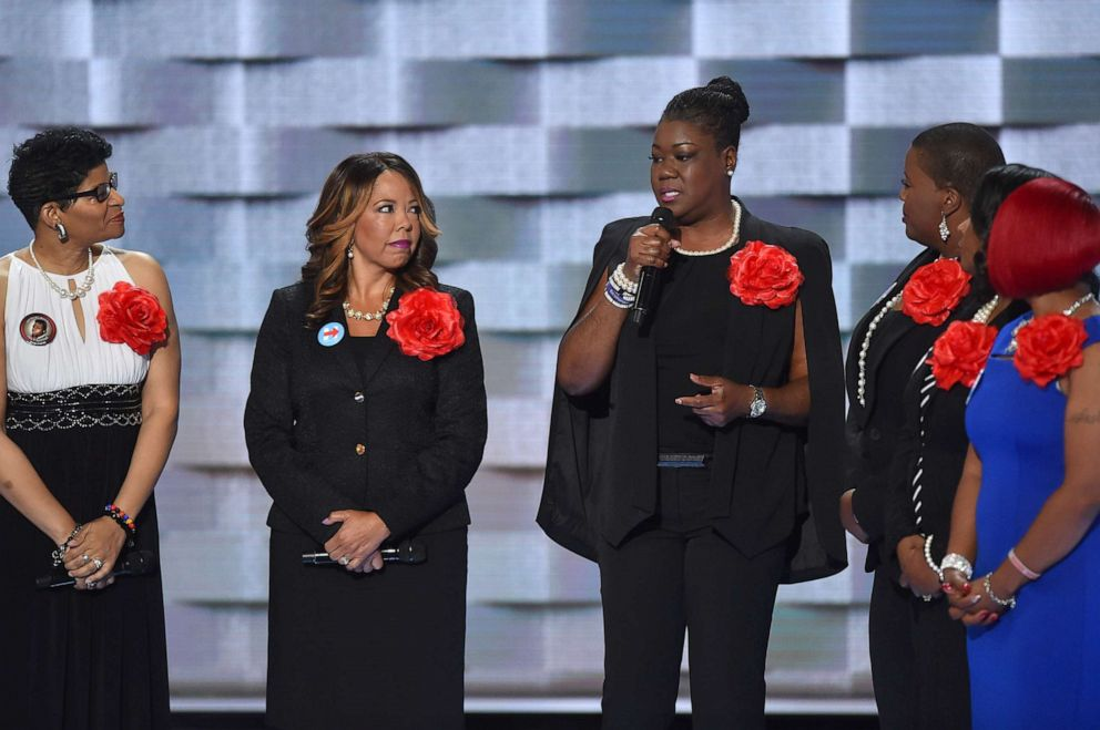 PHOTO: Sybrina Fulton, mother of Trayvon Martin, center, and fellow members of Mothers of The Movement address the Democratic National Convention in Philadelphia, July 26, 2016.