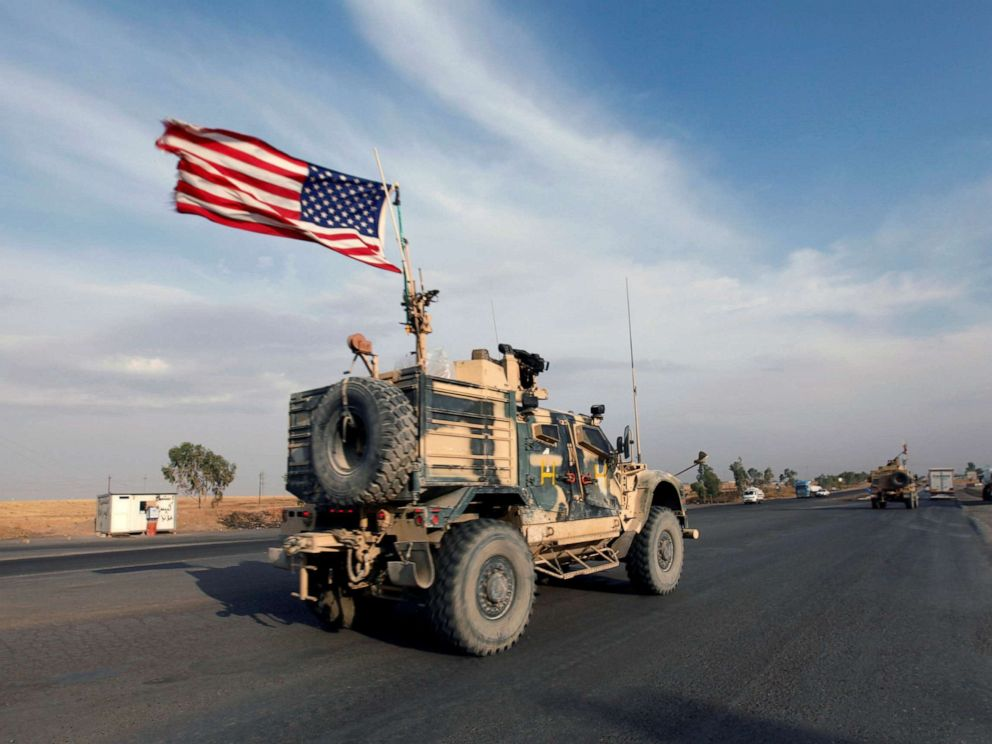 PHOTO: A convoy of U.S. vehicles are seen withdrawing from northern Syria, in Erbil, Iraq, Oct. 21, 2019.