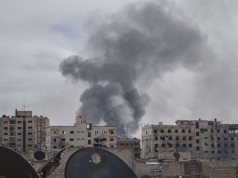 PHOTO: Smoke rises after Assad Regime carried out an airstrike at Duma town of Eastern Ghouta in Damascus, Syria, April 7, 2018.