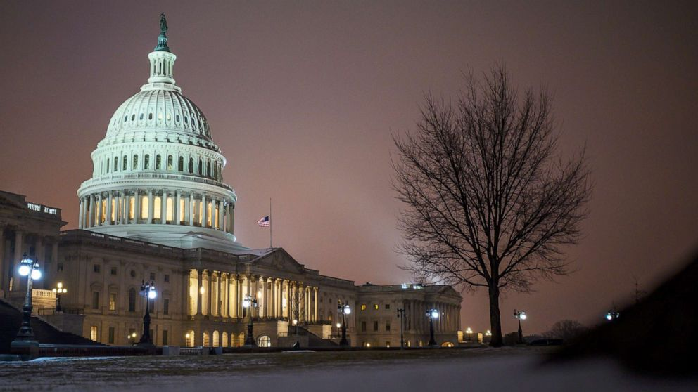 PHOTO: The Capitol is seen on a cold winter evening in Washington, DC, on Feb. 18, 2021.