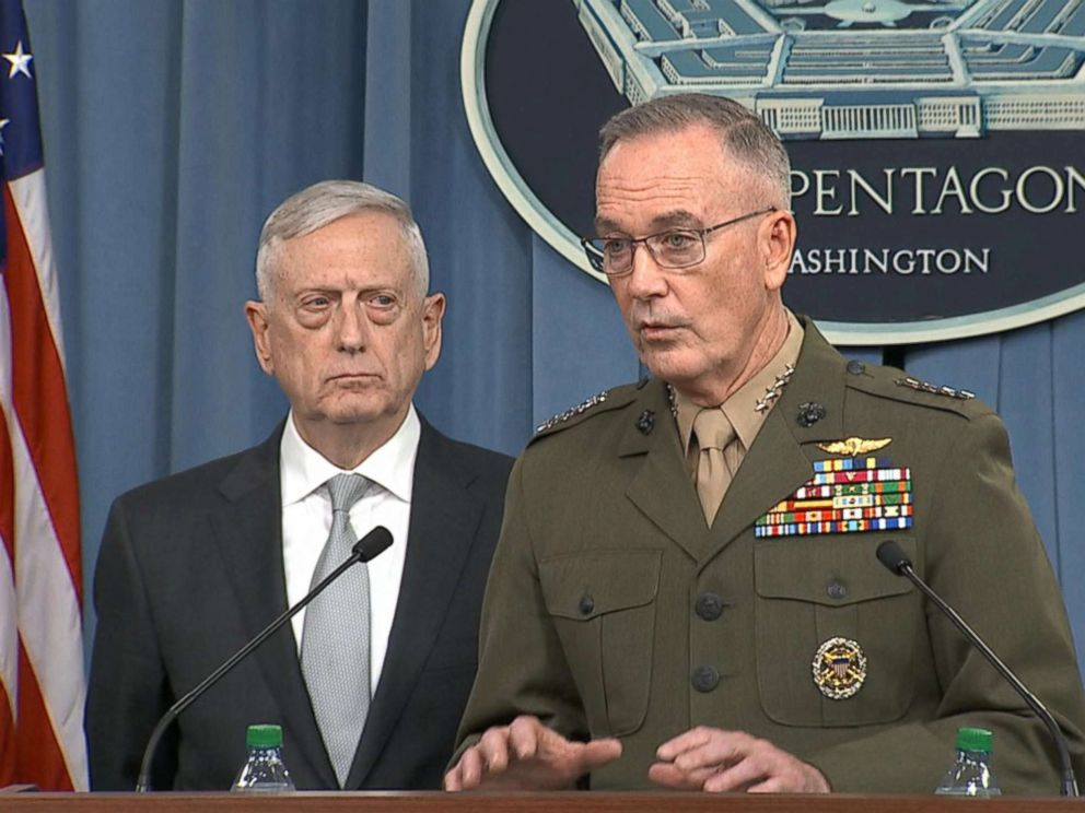 PHOTO: The Pentagon holds a briefing on situation in Syria after Trump announces airstrikes Friday evening, April 13, 2018.