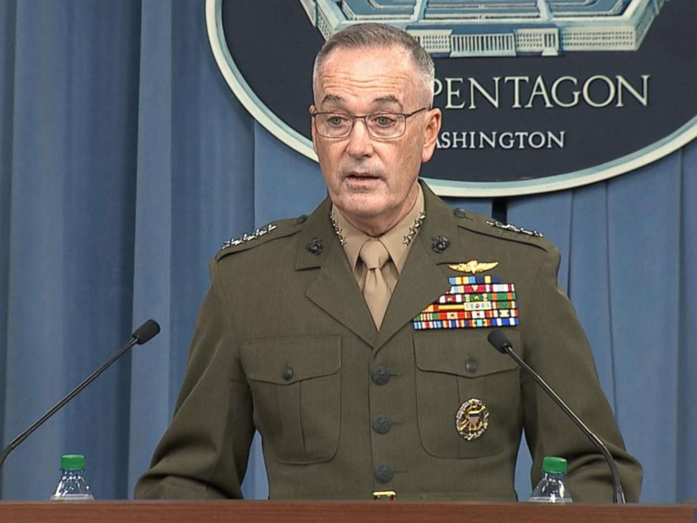 PHOTO: The Pentagon holds a briefing on situation in Syria after President Trump announces airstrikes Friday evening, April 13, 2018.