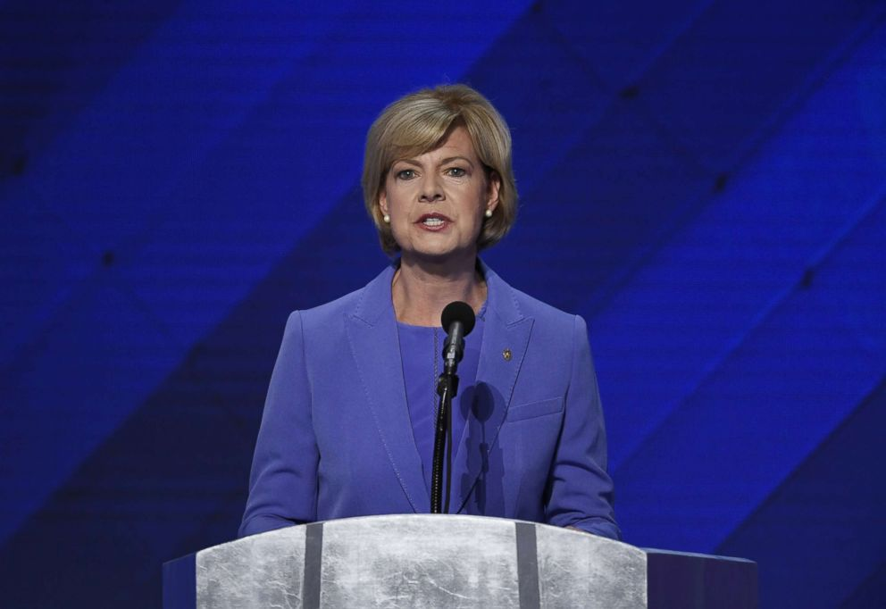 Sen. Tammy Baldwin, a Democrat from Wisconsin, during the Democratic National Convention (DNC) in Philadelphia, July 28, 2016.