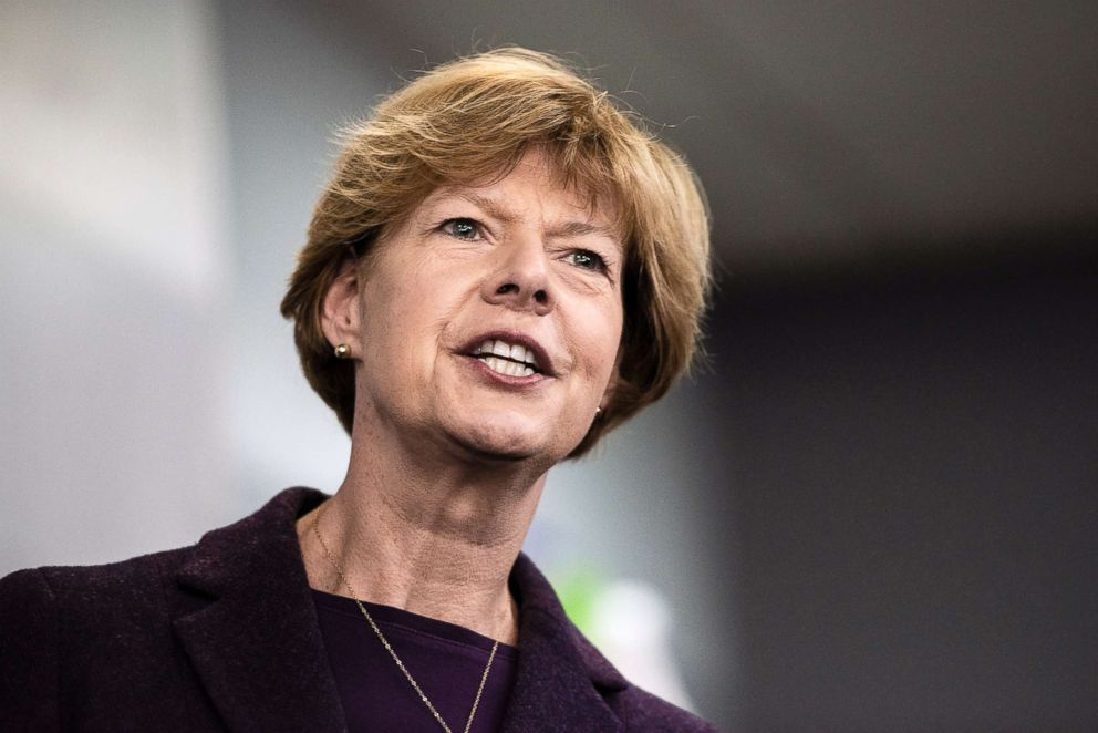 Tammy Baldwin, D-Wis., addresses supporters and workers at the Democratic Party of Rock County office in downtown Janesville, Wis. on Oct. 16, 2018.