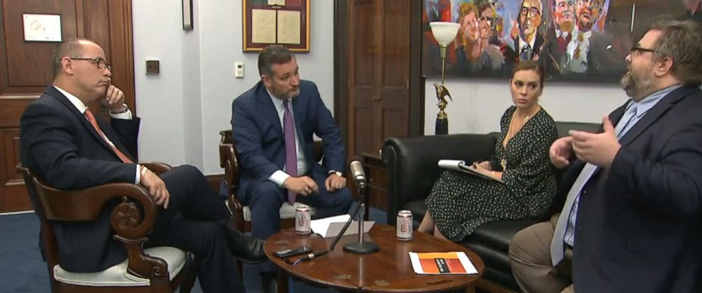 PHOTO: Sen. Ted Cruz speaks to Alyssa Milano about gun control, Sept. 11, 2019.