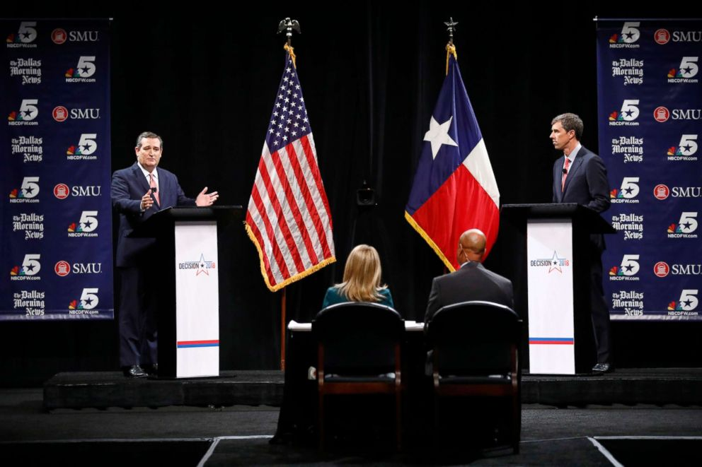 PHOTO: Sen. Ted Cruz, left, and Rep. Beto ORourke, right, take part in their first debate for the Texas Senate seat in Dallas, Sept. 21, 2018.