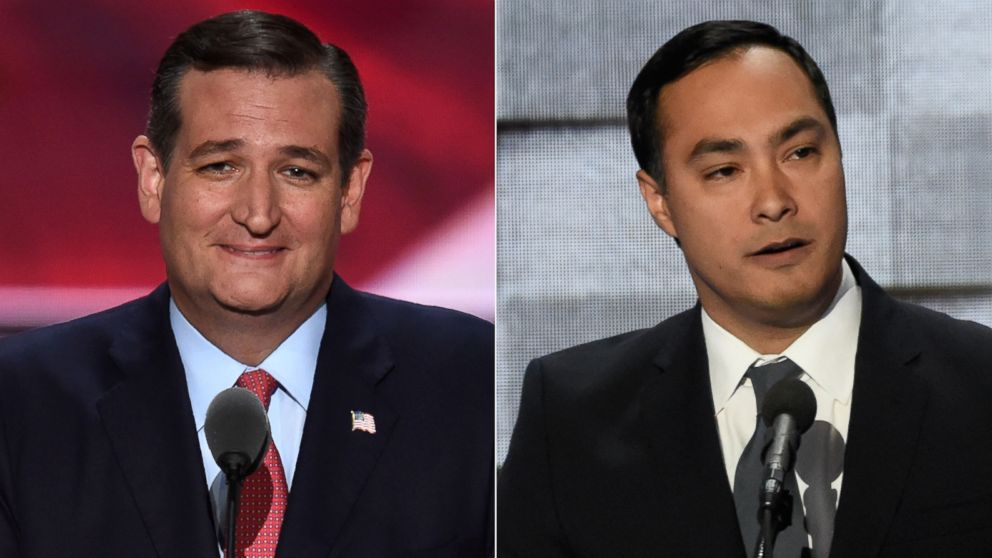 (L-R) Sen. Ted Cruz in Cleveland, July 20, 2016 and Joaquin Castro in Philadelphia, July 28, 2016.
