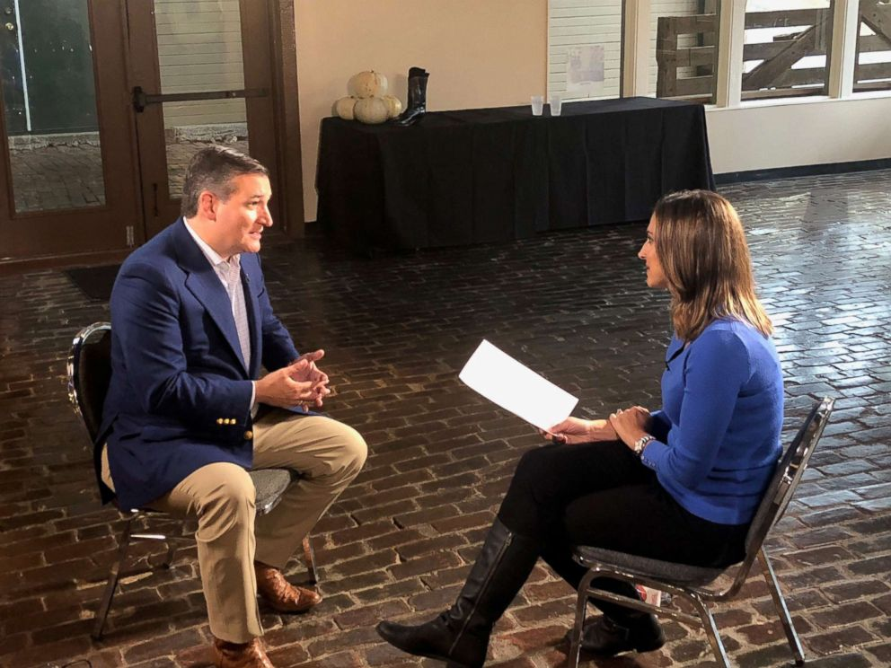 PHOTO: Sen. Ted Cruz speaks with about ABC News Paula Faris about the midterm elections and other topics.