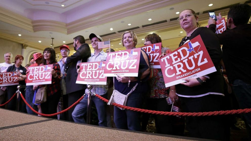 Ted Cruz supporters take position in front of the podium as they enter the election night headquarters in the 2018 midterm general election at the Hilton Post Oak in Houston, Texas, Nov. 6, 2018.