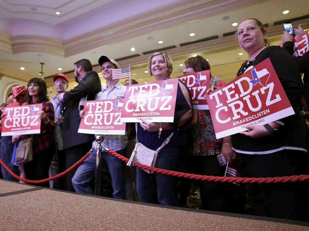 PHOTO: Ted Cruz supporters take position in front of the podium as they enter the election night headquarters in the 2018 midterm general election at the Hilton Post Oak in Houston, Texas, Nov. 6, 2018.